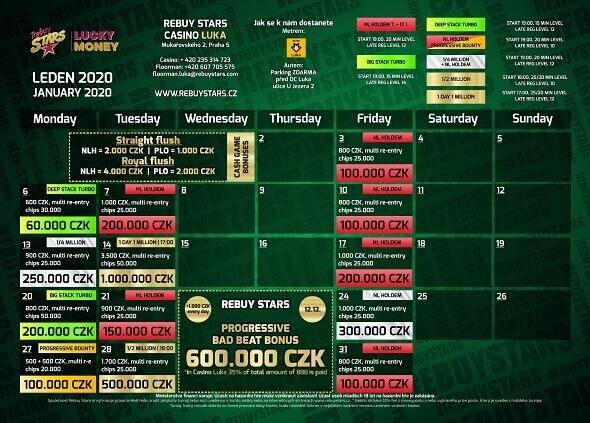 Lednové turnaje v Rebuy Stars Luka